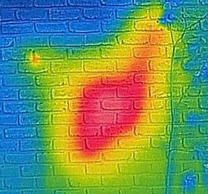 infrared view of the brick wall