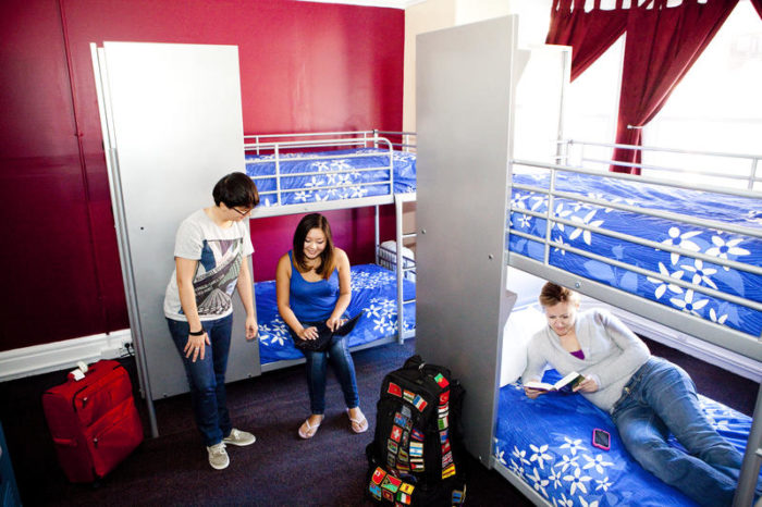 A hostel room with students