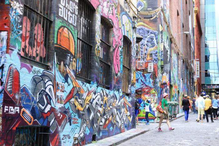 Street art of Hosier Lane Melbourne Australia