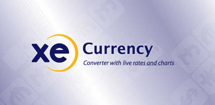 XE Currency logo and slogan
