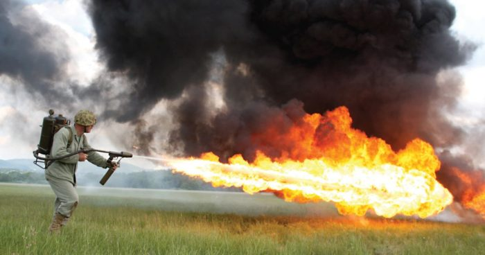 Soldier using a flamethrower