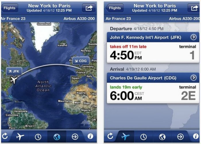 the flight track pro app interface