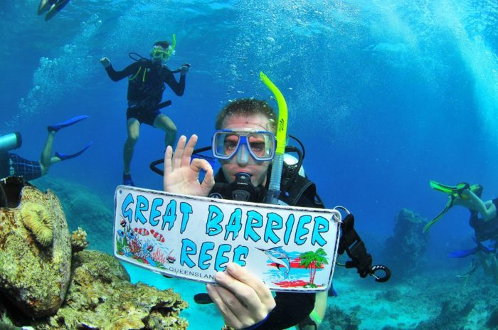 Scuba diving in the great barrier reef, Australia.
