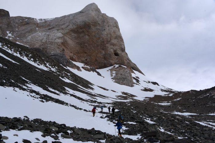 Hiking towards the glacier camp in Antarctica