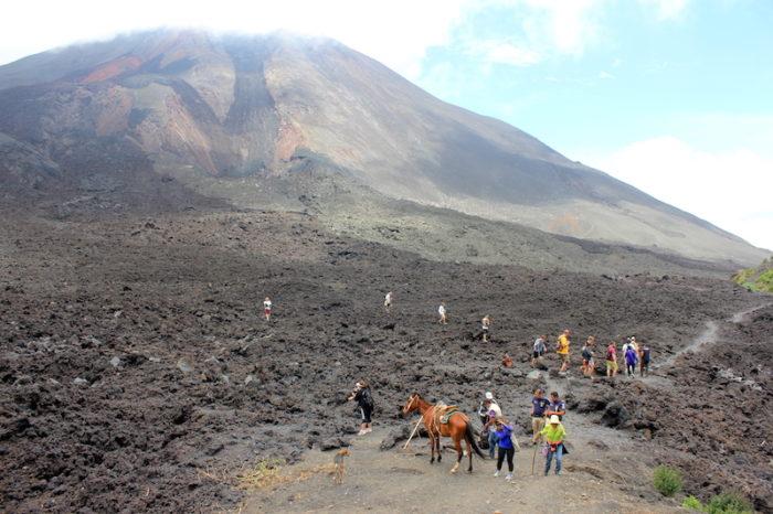 Tourists hiking towards Pacaya Volcano, Guatemala