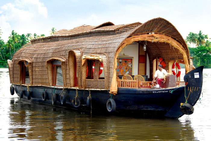 Man riding on a Houseboat